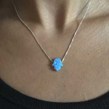 AG Light Blue Opal Hamsa Necklace