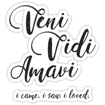 'Veni Vidi Amavi' Sticker by warmhomeboutiqu