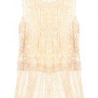 Beige Sleeveless Fringe Hem Crochet Cover-up