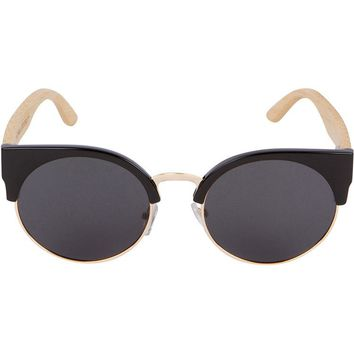 Black Cat Eye Bamboo Wood Sunglasses