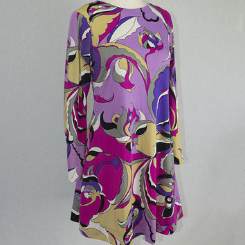 Wild Vintage Pucci-esque Mod Tunic Dress by La Chat Mini Dress Long Sleeve