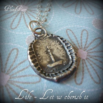 Life Let us cherish it Wax Seal Necklace by PlumAndPoseyInc