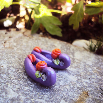 Miniature Fairy Shoes, Leprechaun Shoes, Miniature Polymer Clay Shoes, Purple, Fairy Shoes, Fairy Garden Shoes, Elf Shoes, Faerie Shoes