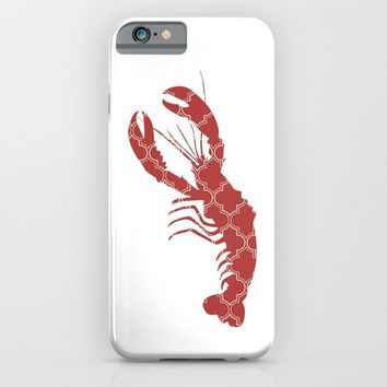 LOBSTER SILHOUETTE WITH PATTERN iPhone & iPod Case by deificus Art