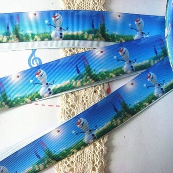 "Frozen Olaf The Snowman Printed Grosgrain Ribbon/ 1"" ( 25 mm ) width / DIY Hair Bow / Head Band / Craft Supplies"