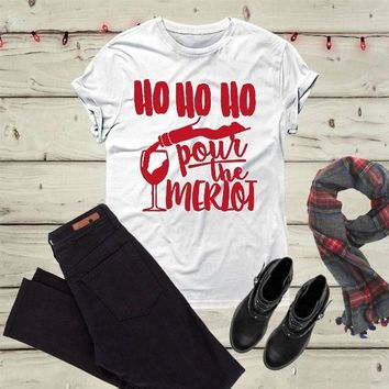 Christmas party Merlot shirt drinking funny slogan graphic aesthetic grunge tumblr holiday gift cotton casual tee quote t-shirt