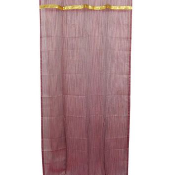 "Mogulinterior 2 Indian Curtain Golden Sari Border Sheer Organza Window Drapes Panel (Length:84"")"
