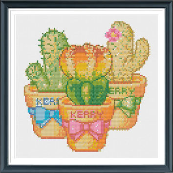 Cactus Cross Stitch Pattern, Modern Cross Stitch Pattern, Succulent Cross Stitch Pattern, Modern Cross Stitch Pattern,Cross Stitch Chart PDF