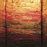 """ARTFINDER: Beauty in the Breakdown red gold impasto triptych abstract original  abstract painting art canvas - 60 x 28 inches by Stuart Wright - Title """" Beauty in the Breakdown """" A good sized..."""