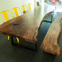 Live Edge Dining Table // Walnut // Handmade Mild Steel Trapezoid Legs