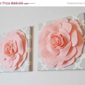 "MOTHERS DAY SALE Two Wall Flowers -Light Pink Roses on Neutral Gray Tarika Print 12 x12"" Canvases Wall Art- Baby Nursery Wall Decor-"