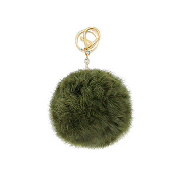 Olive Green & Gold Rabbit Fur Pom Pom Key Chain / Bag Charm Key chain, gift