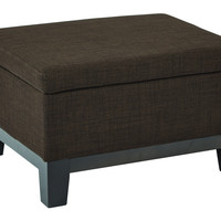Ave Six Regent Upholstered Storage Ottoman with Reversible Tray in Milford Java Fabric with Dark Expresso Legs
