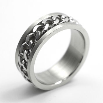 Free Shipping Wide 8mm Stainless Steel Spinner Chain Ring Face Rotatable Ring Men Punk Jewelry Women Accessories Lovers