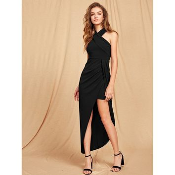 Black Criss Cross Halterneck Maxi Dress