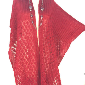 Gift for Women ponchos, red Kimono Cardigan, crochet oncho, handmade autumn  gifts  items, best gift ideas, accessories, september gifts