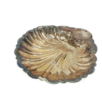 Large Tarnished Silver Plate Footed Shell Dish,Ornate Serving Platter, Seashell, Home Decor, Elegant Vanity Tray, Kitchen, Silverplate