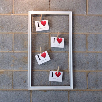 Vintage Framed Message Board - White, Rustic, Vintage, Decor, Photo Display, Chicken Wire, Clothespin, Wedding, Engagement, Jewelry Holder