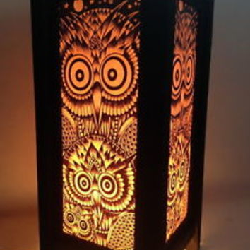 OWL Damask Art Paper Table Lamp Decorative Bedside Lantern Lighting Shade Decor
