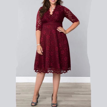 7XL Women's Plus Size Lace Dresses Spring New Fashion Women Big Size Party Dress 5XL 6XL Clothing HK222