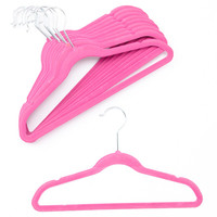 Neon Pink Velvet Kids Hanger - Set of 10 | zulily