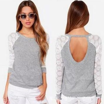 Womens Long Sleeve Lace Shirts Blouses +Gift Necklace