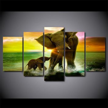 Elephant Family 5-Piece Wall Art Canvas