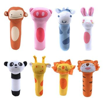 High Quality Soft Toy Animal Cartoon Baby Shaped Bell Hand Ring Rattles Newborn Educational Toys Baby Toys Having Fun