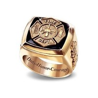 Maltese Cross Gold Firemen Ring by The Bradford Exchange