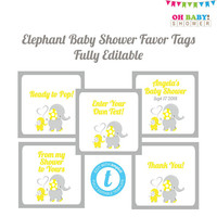 Editable Favor Tags, Elephant Favor Tags, Favor Tags Template, Elephant Favors Baby Shower, Thank You Tag, Yellow, Custom Favor Tags, ELYG