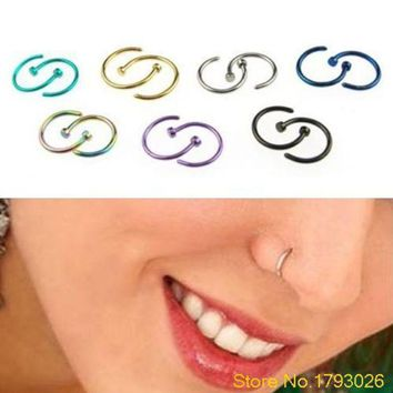 ac DCCKO2Q 2PCS Classic Cute Open Hoop Stainless Steel Nose Ring Earrings Body Piercing for women 4TW4