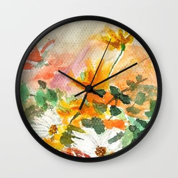 orange and white flower Wall Clock by Color And Color