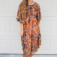 SZ LARGE New Orleans Floral Print Midi Dress With Tassel