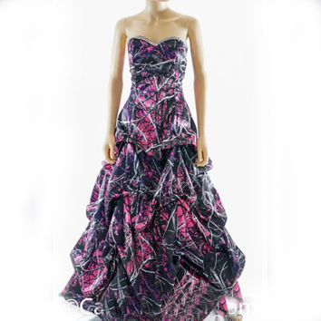 muddy girl pink camo prom dress 2017  vestido de festa longo camouflage party dresses custom make free shipping