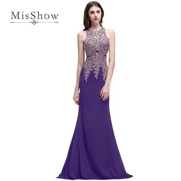 MisShow New Elegant Cheap Lace Mermaid Long Prom Dresses 2017 Sexy Sheer Appliques Embroidery Wedding Evening Party Gowns