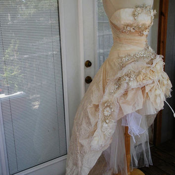 RESERVED for Michelle Handmade Wedding Dress Mini Plus Tail Beige Roses Embroidered Appliques Size 10-12