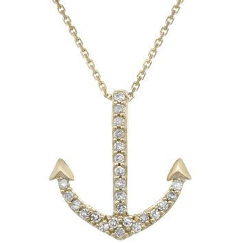 10K Yellow Gold Anchor Mini Pendant with Diamonds (.07cttw, I-J Color, I2-I3)