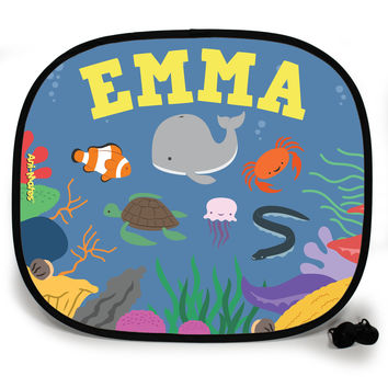 Ani-Mates Under The Sea Whale Party Personalised UV Protection Car Sunshade