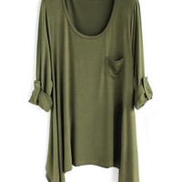 *Free Shipping* Women Cotton Army Green Loose Top HT10000agr from efoxcity