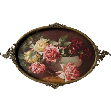 c1890 Antique Victorian Convex Glass Brass Frame Vintage Roses Print Flower Floral Rose Large