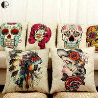 Halloween Mexican Sugar Skull Cushion (No inner) Decorative Throw Pillow Sofa Home Decor Almofada Cojines Decorativos Coussin