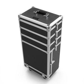 Abody Cosmetic Train Rolling Case 6 Layer Extendable Makeup Trays Box Makeup Artist Storage Organizer Make Up Case with Wheels