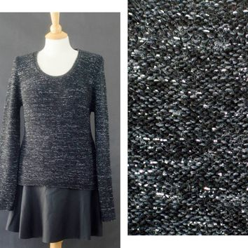 90s Metallic Long Sleeve Shirt, Witchy Black Sweater, 90s Grunge Sweater, Glitter Winter Sweater, GIft for her, Women's Size Large