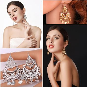 Indian Dangle Rhinestone Tassels Drop Earrings For Women
