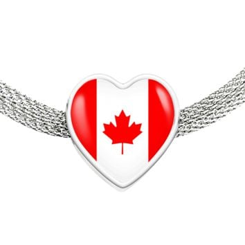 Canadian Pride - Luxury Heart Charm Bracelet