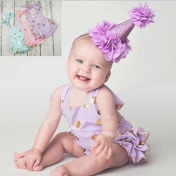 2016 new summer sumsuit baby bubble romper gold polka dots ruffle romper girl birthday outfit