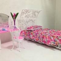 Barbie Size Dollhouse Furniture- Sweet Dream Bed Room Play Set