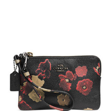 Coach Small Wristlet Wallet in Floral Print Leather