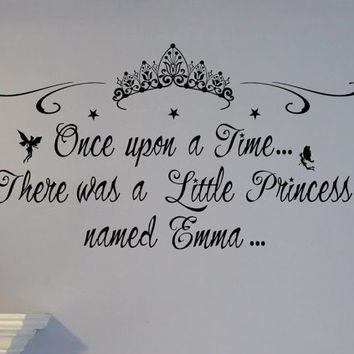 Once upon a time Personalized Name Little Princess Wall Decal Custom NURSERY CROWN Tiara diadem Vinyl sticker home decor fairy baby girl