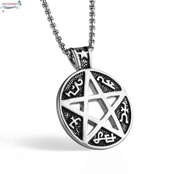 New fashion supernatural pentagram star geometric necklaces&pendants men Stainless steel chain mysterious totem necklace jewelry